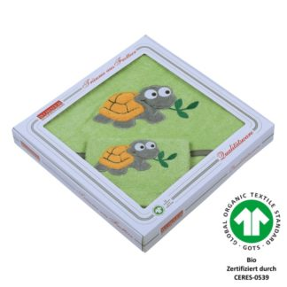 Set Kapuzenhandtuch + Waschhandschuh Schildkröte grün