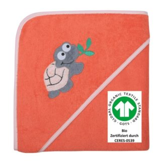 Kapuzen-Badetuch Schildkröte lachs 100x100