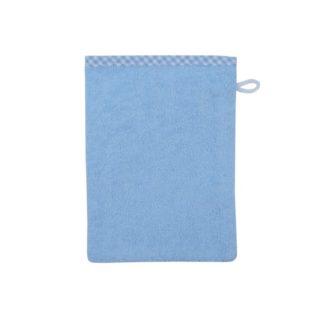 Waschhandschuh Vichykaro blau